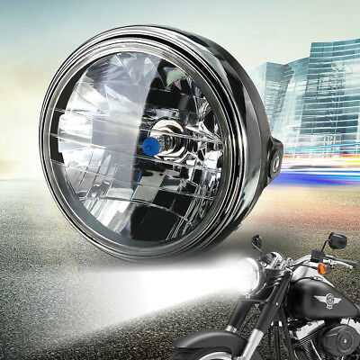"7"" Motorcycle 12V Round Headlight Halogen H4 Bulb Head Lamp Projector Side Mount"