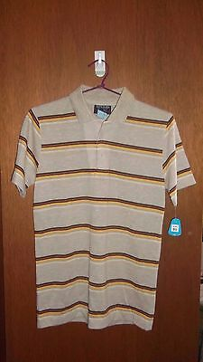 Never Worn - Vintage 70's brown stripe POLO shirt - SZ S 90 cm
