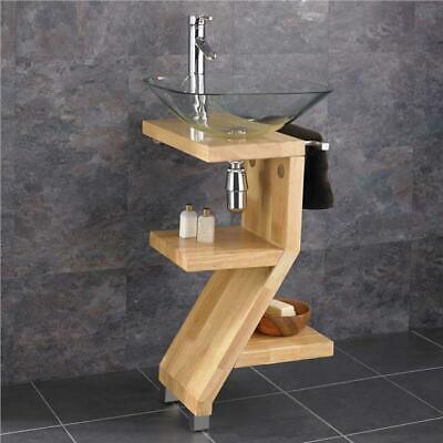 Square Glass Basin on Solid Wood Freestanding Sink Floor Mounted Bathroom Set