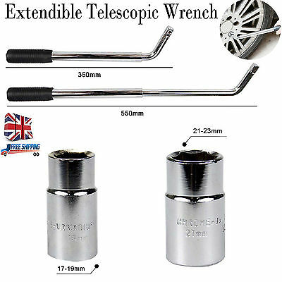 Extendable Wheel Brace Wrench Telescopic Van Car Socket Tyre Nut 17&19mm 21&23mm