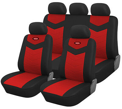 Synterior Brand, Vinyl Car Seat Covers for Mitsubishi, Color: Ruby Red