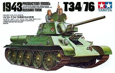 Tamiya 35059 1/35 Scale Military Kit Russia Tank T34-76 1943 Production Model