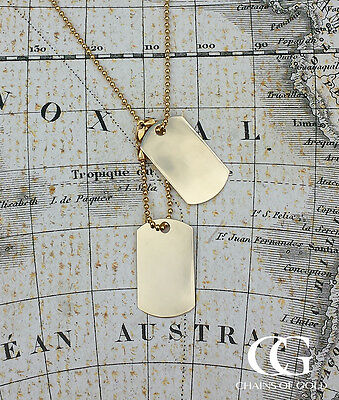 Solid 9ct Yellow Gold Military Style Dog Tag Pendant & Chain Necklace GIFT BOXED