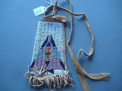 Native American Beaded  Medicine Pouch, North American Beaded Bag, #co-00176