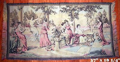 """Vintage Italian Neoclassical Maidens POMPEI Woven Tapestry Panel 37"""" x 18 ¼"""""""