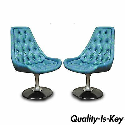 Pair of Vtg Chromcraft Sculpta Blue Swivel Chairs Star Trek Mid Century Modern