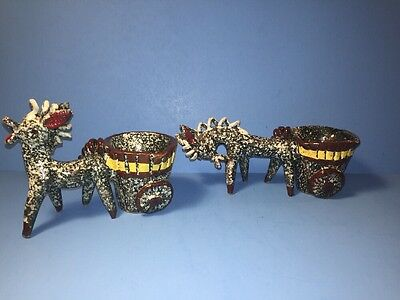 2 Vintage Pottery Donkey Mule Pulling Cart Planter Made In Italy Italian