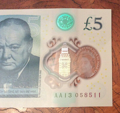 RARE Five Pound Note AA13 Polymer £5 Low Serial Number Early Batch