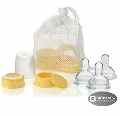 MEDELA Breastmilk Bottle Spare Parts with 3 Slow-flow wide base Nipples NEW!