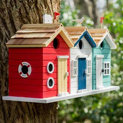 Large Wooden Beach Hut Bird House Nest Deluxe Garden Nesting Box Novelty Station