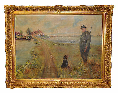 Antique European  Painting Hunter in the Field with Dog