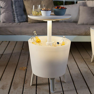 Keter Illuminated Cool Bar Plastic Outdoor Ice Cooler Table Garden Furniture