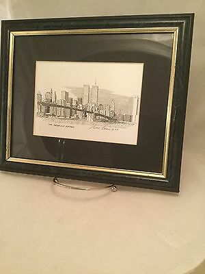 Signed Print of Pen and Ink Drawing Brooklyn Bridge Bruce Arvon Framed