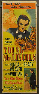 Young Mr Lincoln 1939 Orig 14X36 Movie Poster Henry Fonda Alice Brady