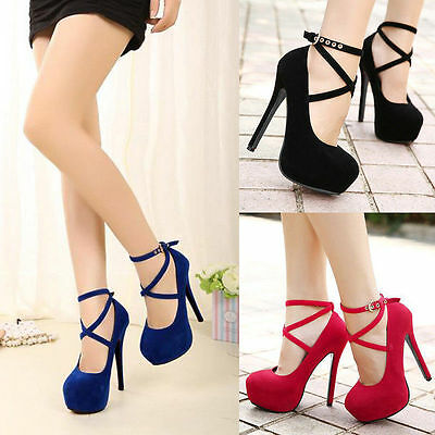 New Womens Ankle Strap Round Toe High Heels Stiletto Pumps Party Wedding Shoes
