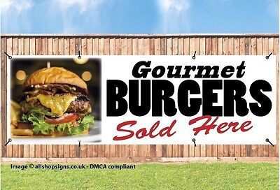GOURMET BURGERS SOLD HERE PVC Printed BANNER OUTDOOR SIGN with Brass Eyelets