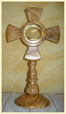 Ostensorio legno ulivo monstrance olive wood ostensoir Monstranz monstrancja