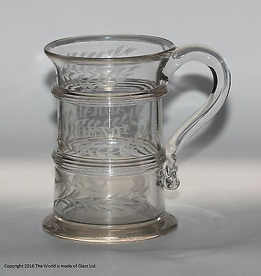Georgian engraved and banded cylinder tankard