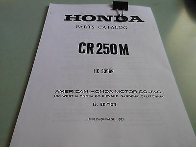 Honda 1973-1974 CR250M Elsinore Parts Catalog Manual Book Published 1973