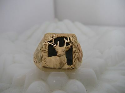 Men's 10K Yellow Gold Stag Buck Deer Ring Size 13.25