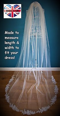 Wedding Veil *Cathedral Length*1 Tier*Off white/ Ivory* Corded Lace Applique*