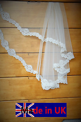 Bridal Veil*Fingertip Length*2 Tier*Made to Order*off White&ivory*Wide Lace*