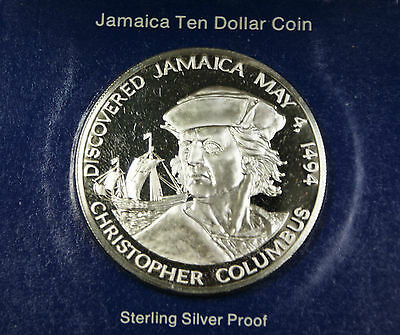 1994 Jamaica $10 Christopher Columbus Silver Proof Ten Dollar Coin Box COA