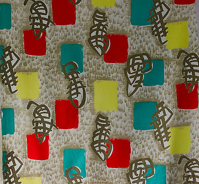vintage 1950s French abstract calligraphy & blocks screenprint cotton fabric