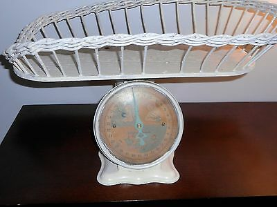 Vintage Baby Scales 1940's With White Wicker Attached Basket