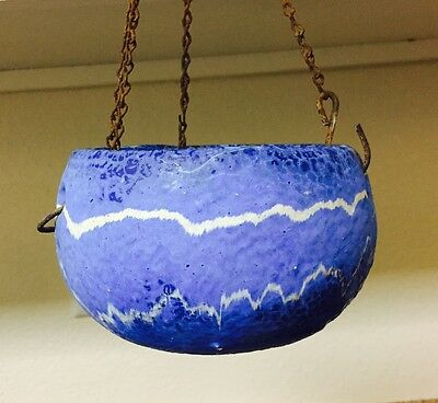 Vintage Ozark Roadside Tourist Pottery Blue/White Hanging Flower Planter