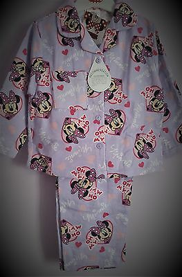 Minnie Mouse Pyjamas Girls Winceyette Pj's Lilac Disney Pjs  Pyjama Set T2TC198