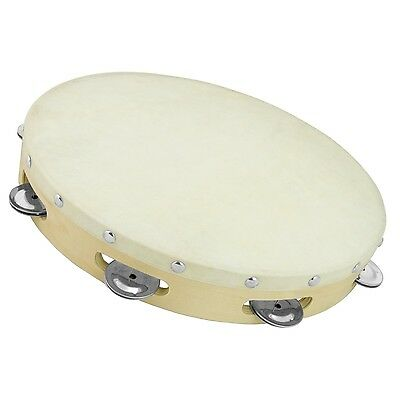 Tiger TAM91-12 Wooden Tambourine with Natural Drumhead - 12 Inches