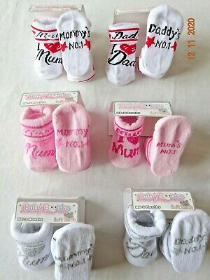 Baby I Love Mum Dad Boy Girl Socks/Booties,Bootee Blue Pink One Newborn-3 Months