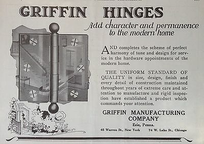 Vintage 1924 Ad(F16)~Griffin Mfg. Co. Erie, Pa. Griffin Hinges