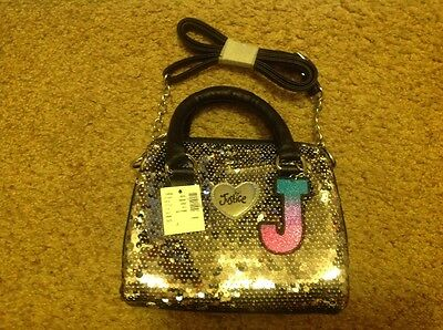 New Justice girl's bag/purse, silver sequins, initial J charm
