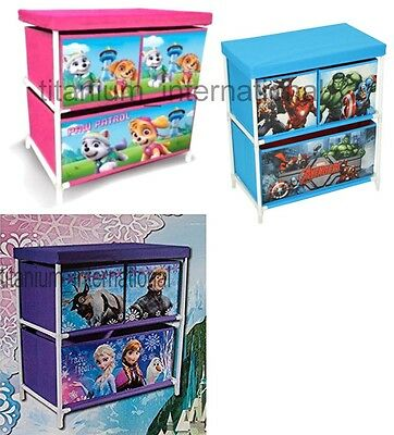 Disney Frozen- Marvel Avengers-Paw Childrens Kids Drawer Books Toys Storage Box