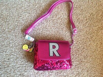 New Justice girl's hot pink initial R sequin purse/bag with charms