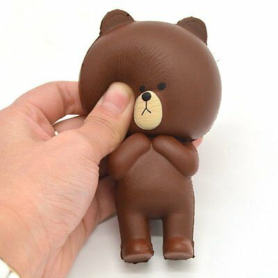Kawaii Squishy Brown Bear Squeezable Stress Relieve Doll Kids Toy Hand Pillow