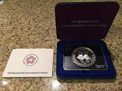 1973 Bicentennial Commemorative Sterling Silver Medal - Original Box & COA