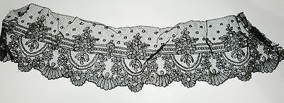 "Vintage Antique Black Victorian Mourning Chantilly Lace Wide Detail 17"" X 4"""