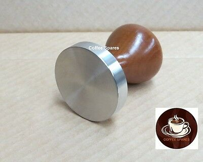 Coffee TAMPER 58mm - 18/10 Stainless Steel Flat Base with Timber Handles