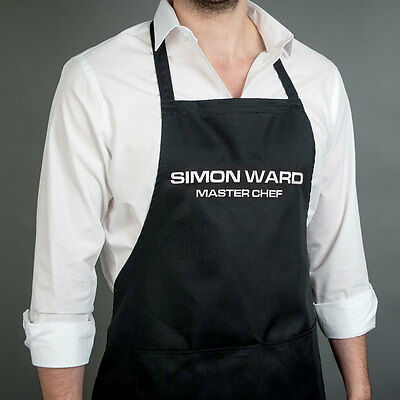 Personalised Embroidered 100% Cotton Apron Black Free Name Embroidery