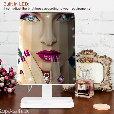 10X Magnifying Touch LED Lighted Girl Cosmetic Makeup Mirror Tabletop Countertop