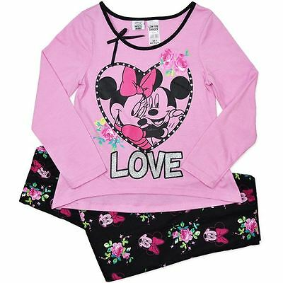 New Older Girls Licensed Disney Minnie Mouse Pyjamas, Sleepwear, Pjs, Size 8-12