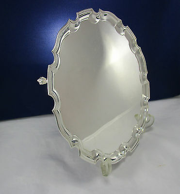 """Antique English 14"""" Silverplate Chippendale Claw & Ball Feet Salver Serving Tray"""