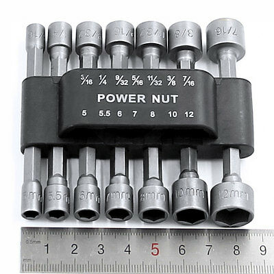 14PCS Power Nut Driver Hex Shank Drill Bit Set Adapter Socket Wrench Screw Tool