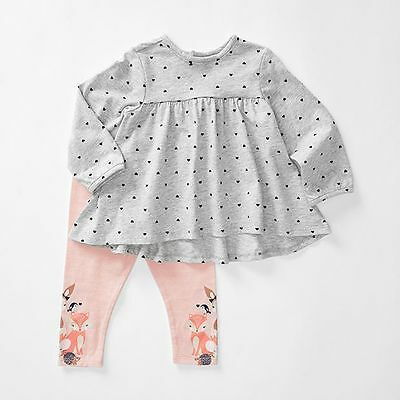 NEW Baby 2 Piece Top & Fox Leggings Set
