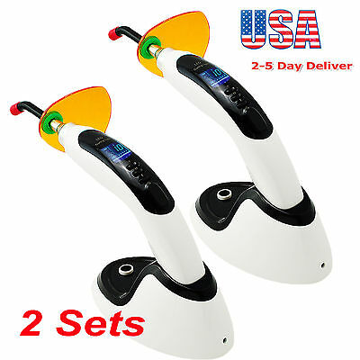 2X10W Wireless Cordless LED Dental Curing Light Lamp Tooth Whitening 2000MW USA