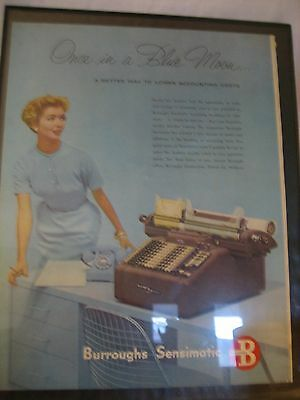 1950's BURROUGHS Sensimatic Accounting Machines Vintage Magazine Ad FRAMED
