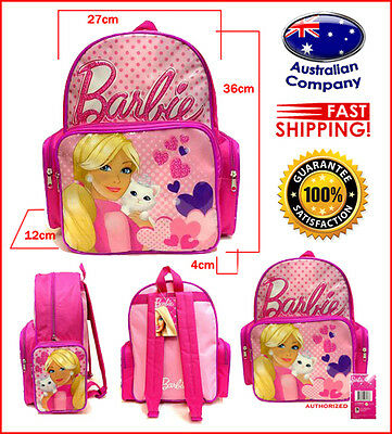 Cartoon Backpack new pink BARBIE kitten fashion school bag #4365